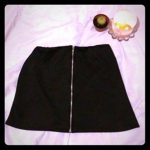 Front Zipper Black A-Line Skirt